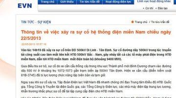 nguyên nhân vụ mất điện 22 tỉnh thành Miền Nam chiều 22/5/2013